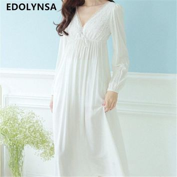 Autumn Vintage Nightgowns V-neck Ladies Dresses Princess White Sexy Sleepwear Solid Lace Home Dress Comfortable Nightdress #H13