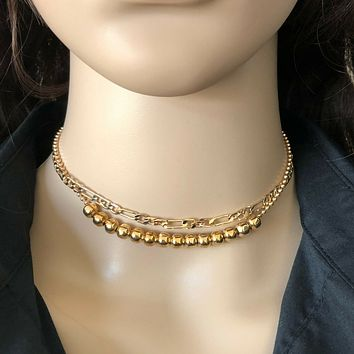 Gold Double Chain and Bead Choker