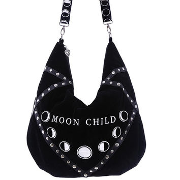 Moon Child Black Velvet Hobo Hand Bag Purse w/ Embroidery Phases