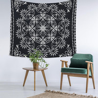 Black Mandala Custom Printed Unique Dorm Decor Apartment Decor Trendy Wall Art Printed Wall Hanging Wall Tapestry