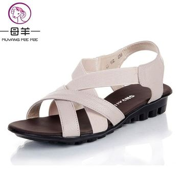 MUYANG MIE MIE 2017 summer shoes women flats women genuine leather flat shoes sandals