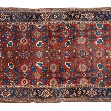 4.5x7 Antique Persian Bijar Area Rug