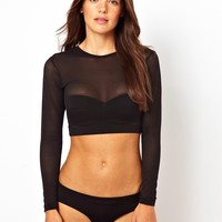 ASOS | ASOS Long Sleeve Mesh Crop Bikini Top at ASOS
