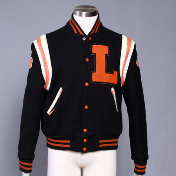 60s Men's LETTERMAN JACKET / 1960s Wool & Leather Baseball VARSITY Jacket M