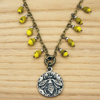"""Bumblebee necklace with vintage Japanese lampwork beads and brass chain, yellow black bee, 21"""""""
