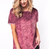 Make A Scene Crushed Velvet Tee in Burgundy