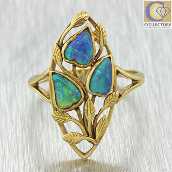 1880s Antique Victorian 14k Solid Yellow Gold Black Opal Flower Leaf Ring