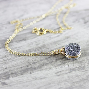 Silver Druzy Gemstone Necklace, Wire Wrap Necklace, Gold Fill Necklace, Small Pendant Necklace, Silver and Gold, Drusy Quartz Necklace