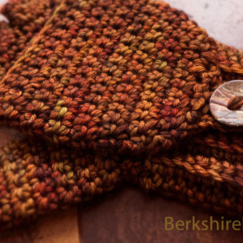 Wool convertible fingerless gloves / mittens. Crocheted in superwash merino. Fall colors - rusty red and orange or CUSTOM. Women's small.