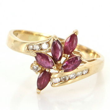 Vintage Ruby Diamond Cluster Cocktail Ring 14 Karat Yellow Gold Estate Pre Owned