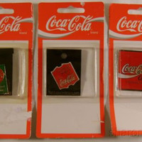 Set 3 Coca Cola Coke 2 Pins 1 Magnet Collectible 1995 Drink Ice Cold Handcrafted