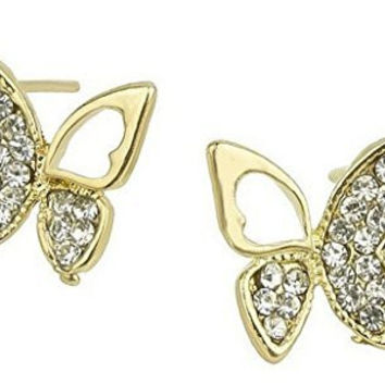 Sparkling Crystal And Cut Out Butterfly Women / Girls Post Earrings