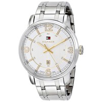 Tommy Hilfiger 1710344 Men's George White Dial Stainless Steel Bracelet Watch
