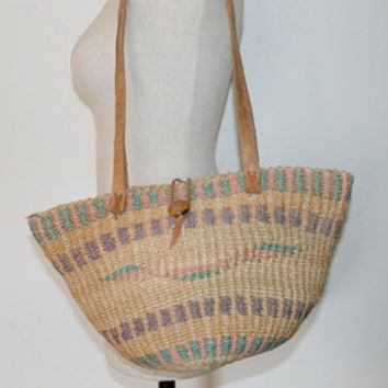 70s Woven Market Bag | African Sisal Tote | Woven Beach Tote | Black White Red & Orange  Woven Beach Tote