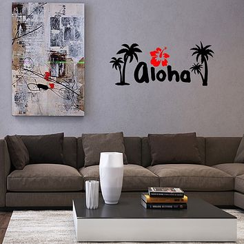 Aloha Hibiscus Flower Hawaii Bedroom Wall Quotes Decal