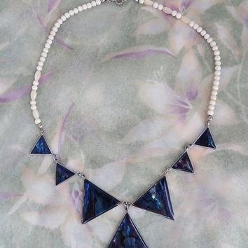 Vintage Hawaiian Blue Paua Shell and Cream Bead Necklace