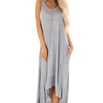 Slate Blue Mineral Wash High Low Sleeveless Dress