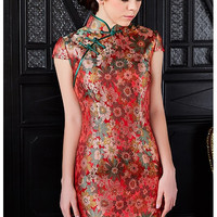 Floral Lace Sheath Qipao