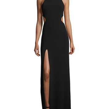 Halston Heritage Sleeveless Crewneck Gown, Black/Chalk