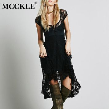 MCCKLE Women Short Sleeve Lace Patchwork Long Dress Summer Hollow Out Lace-Up Asymmetrical Bohemian Dresses Women's Boho Dress
