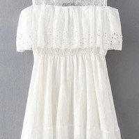 White Hollow Out Sweet Lace Panel Flouncing Off-The-Shoulder Dress