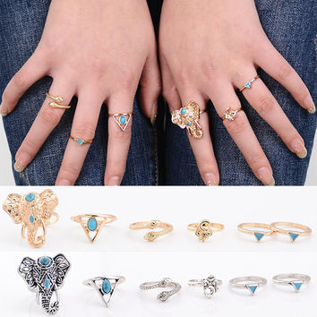 6 pcs Vintage Ethnic Bohemian BOHO Ring Elephant Snake Turquoise Punk Joint Ring Women Jewelry