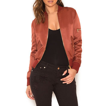 Clothing : Jackets : 'Dena' Bronze Satin Bomber Jacket