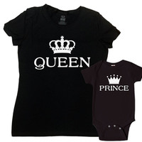 Mommy And Son Matching Outfits Matching Family Shirts Mommy And Me Clothing Mother And Son Gift Queen And Prince Bodysuit - SA628-630