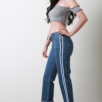 Sporty Stripe Frayed Hem Boyfriend Crop Jeans