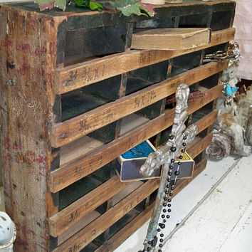 Wooden cubby organizer shabby chic old distressed wood decor storage Anita Spero