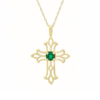 Created Emerald Cross Pendant