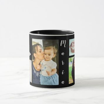 Custom, Black, 4 Photo Mugs. Mug