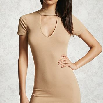 Ribbed Mock Neck Cutout Dress
