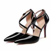 Candy Color Pointed Toe Cross Strap Pumps Ankle Strap Pumps