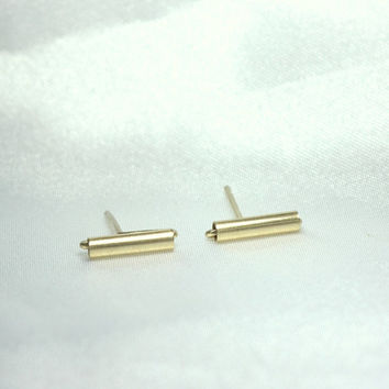 Gold  Bar Earrings - tiny gold bar studs,Tiny 14k gold filled line earrings, Gold line studs, Gold tube earrings.