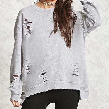 Distressed High-Low Sweatshirt