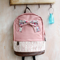 Pink Backpack with Floral Bow