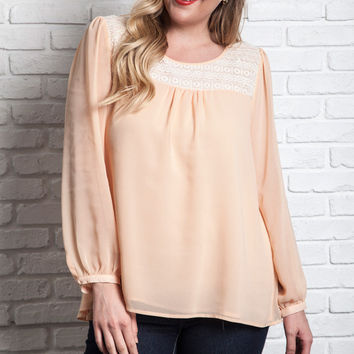 Bibbed Lace Baby Doll Blouse - Apricot