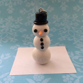 Polymer clay snowman charm, Christmas charm, ornament, winter charm, snowman