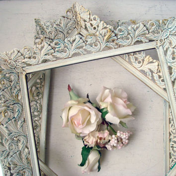Antique White Vintage Filigree Frames and Mirrors, Shabby Chic White and Patina Frames, Ornate Vanity Mirrors, French Cottage Decor