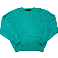 Vintage 90s Teal Eddie Bauer Cotton Sweater Made in USA Mens Size Medium