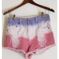 Spring High Waisted Ombre Shorts