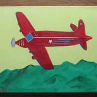 Plane painting, boys airplane decor, red airplane, boys art on canvas