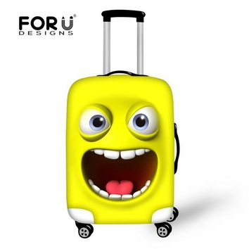 FORUDESIGNS Elastic Luggage Protective Cover Cute Emoji Cat Face Print Travel AntiDust Cover For 18-28 Inch Suitcase Protector