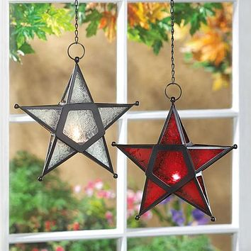 Red and Clear Glass Star Lantern