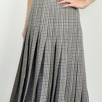 Vintage Womens Aquascutum Flared Pleat Plaid Gingham Check Skirt 16 Brown Midi Blue Maxi