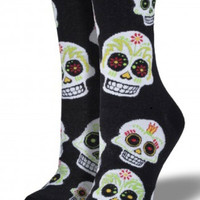 Socksmith Big Muertos Skull Socks Black & White