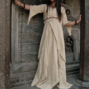 Medieval Long Princess light color  Dress romantic Boho Natural Fantasy