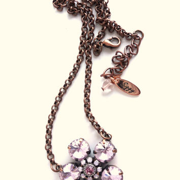 Swarovski crystal daisy pendant necklace, 11mm rose, better than sabika