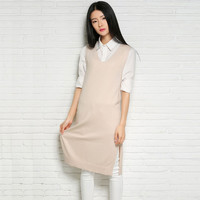 Solid Color Knitted Sleeveless Slit Midi Sweater Dress